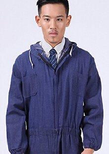 连体工作服带帽可清洗蓝色劳动布防尘