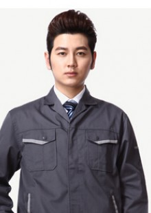 时尚西装领工作服短袖套装男