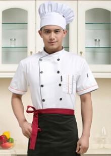 时尚大气酒店工服夏季厨师服短袖酒店西餐厨师长服装