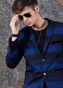 韩版时尚休闲西服薄款针织英伦小西装修身青年外套