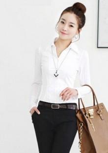 修身纯棉衫衣女无弹性长袖气质立领优雅女人简洁职场女性衬衫