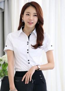 夏天新款女装纯色短袖学生衬衫职业装