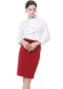 女装春夏新款修身白色女性长袖衬衫