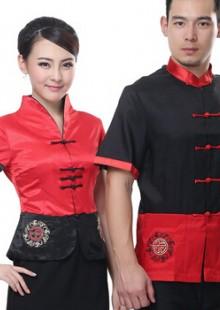 中式餐厅服务员工作唐装短袖饭店制服