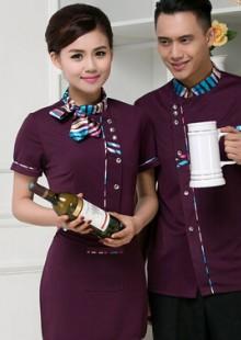 酒店工作服夏装女茶楼服务员短袖