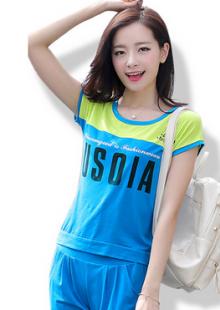 夏装运动套装胖妹妹韩版拼贴短袖两件套