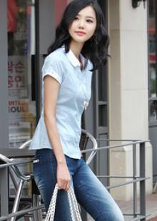 少女印花短袖休闲衬衣