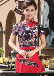 中式餐厅服务员短袖工装制服传菜服