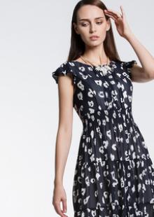 夏装新款女装长款印花短袖雪纺连衣裙