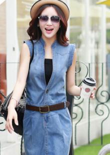 2015夏装新款女装韩版气质牛仔连衣裙