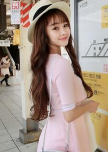 2015春夏装新款韩版嫩粉色甜美气质中袖圆领假两件连衣裙