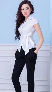 职业装女士衬衫短袖定制