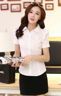 职业装女装衬衫短袖订制