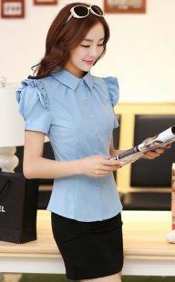 职业装女性衬衫短袖订制