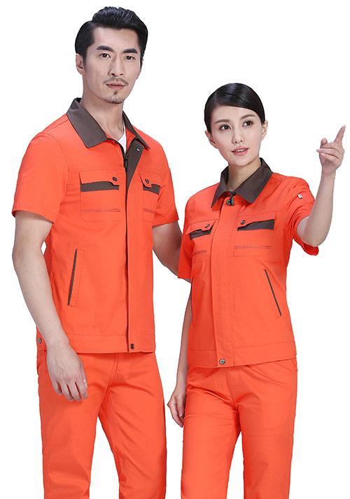 桔红拼棕灰工作服