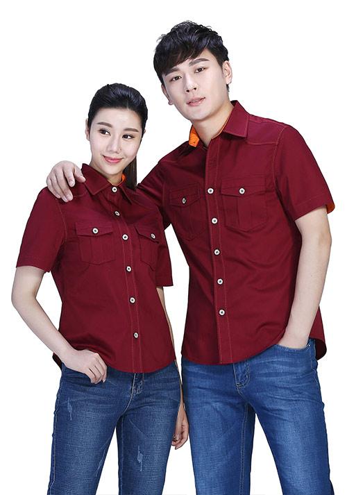 枣红衬衫型工作服定制