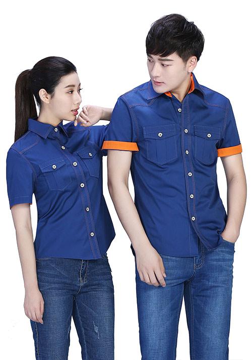 蓝色衬衫型工作服定制