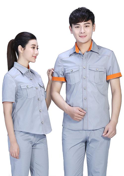 银灰衬衫型工作服定制