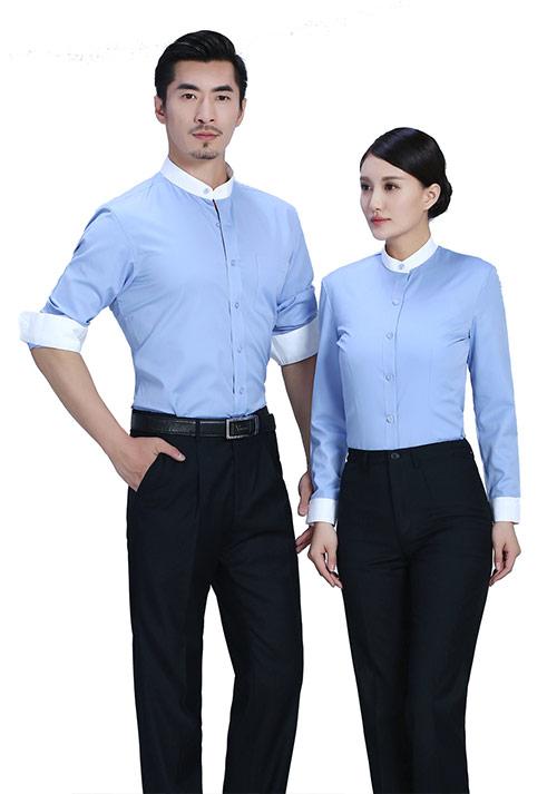 蓝色职业衬衫定制