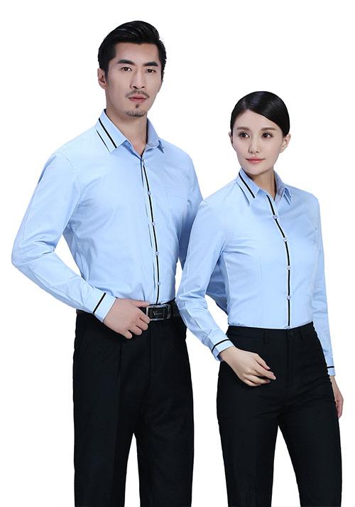 蓝色拼条职业衬衫定制