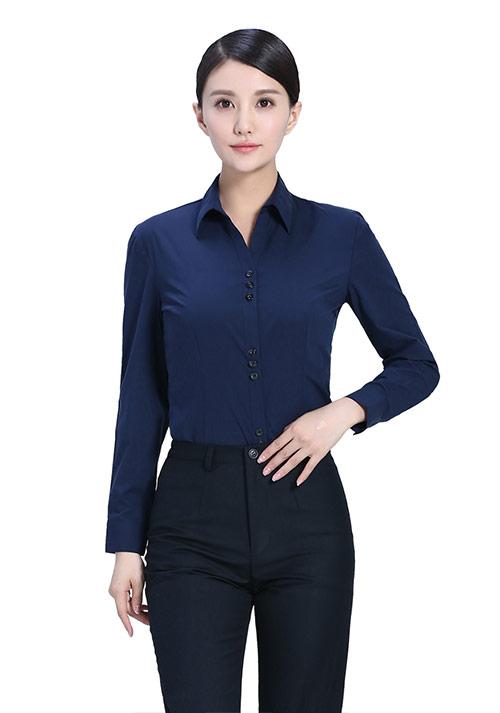 藏青色职业衬衫定制