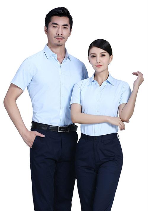 浅蓝短袖职业衬衫定制