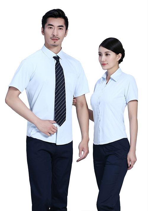 浅蓝短袖职业衬衫定制加工