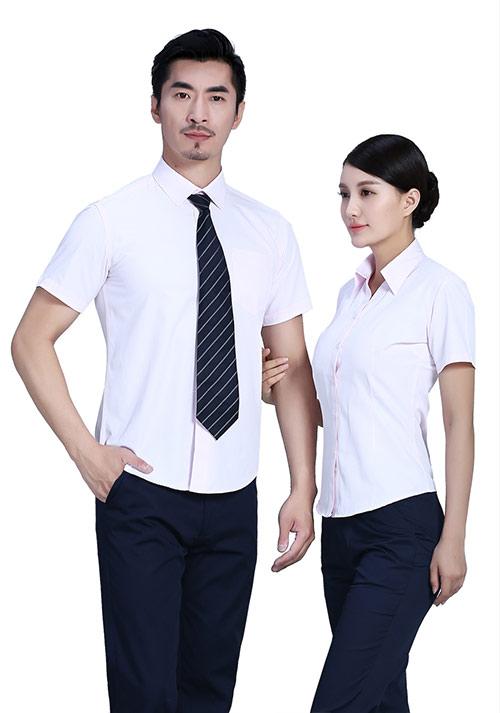 浅粉短袖职业衬衫定制